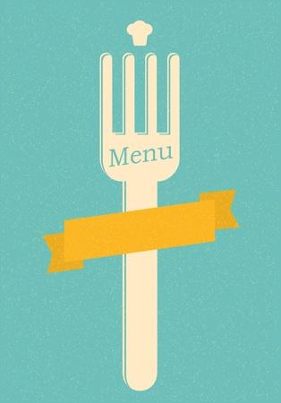 fork glasses: restaurant menu retro poster
