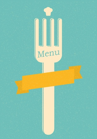 cuchara y tenedor: restaurante de men� del cartel retro