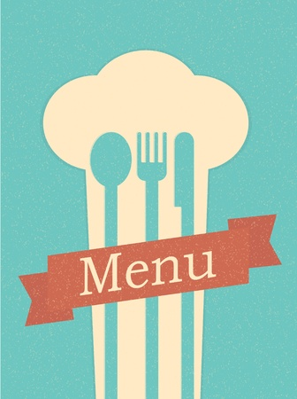 restaurant menu retro poster