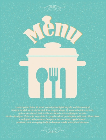 kitchen illustration: restaurant menu retro poster
