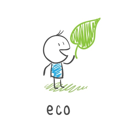protect: Eco man. Illustration