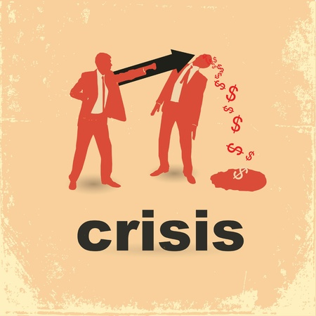 The concept of the financial crisis. Duel of two businessmen. Çizim