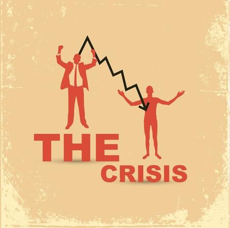 stockexchange: Financial crisis concept. Joyful and upset businessman.