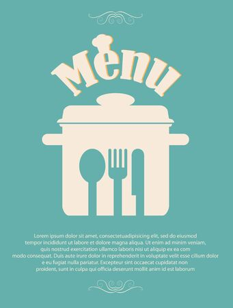 spoon and fork: restaurant menu retro poster