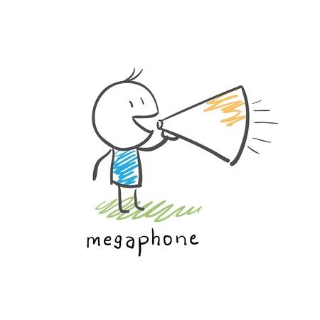 loudhailer: Cartoon hombre y meg�fono