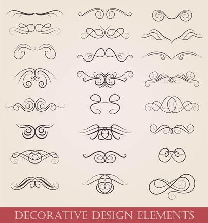 calligraphic design: set calligraphic design elements retro style Stock Photo