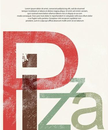 pepperoni pizza: Pizza  Design print retro background Stock Photo