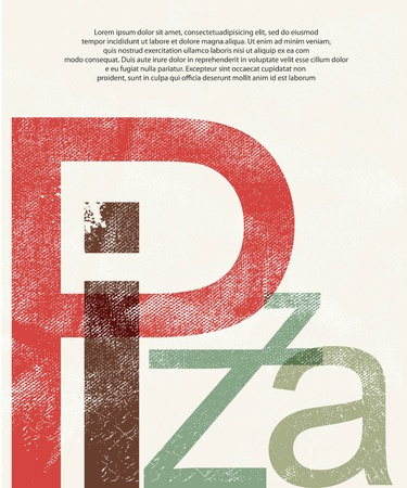 restaurant questions: Pizza  Design print retro background Stock Photo