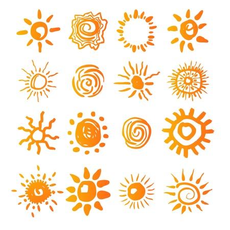 sol caricatura: los iconos de puesta de sol