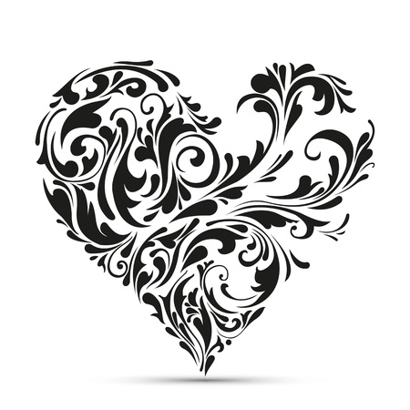 abstract floral heart  love concept Vector