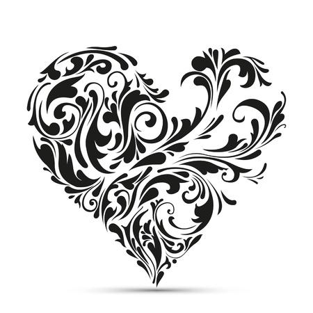 kształt: streszczenie kwiatów koncepcja miłość serce Ilustracja