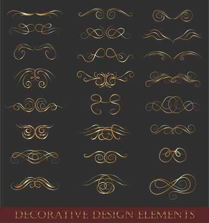 calligraphic design: Set calligraphic design elements retro style