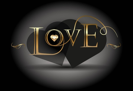 Love poster  Golden calligraphic