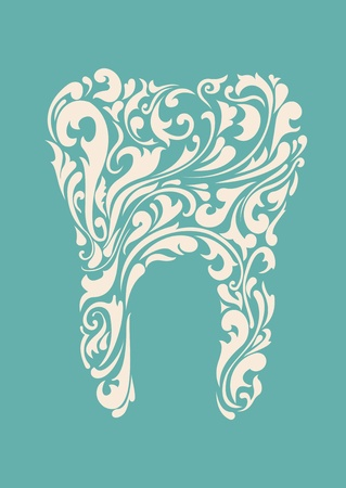 abstract floral teeth Vector
