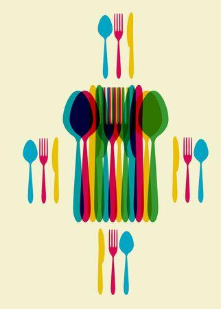 formal place setting: restaurant menu template Illustration