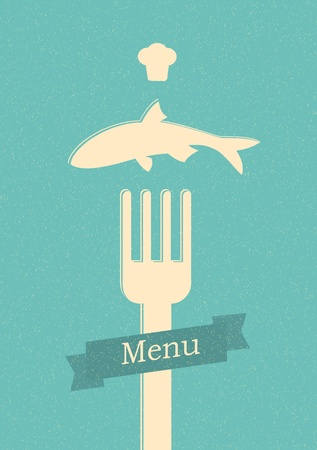 cutlery: restaurant menu retro poster