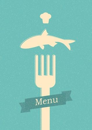 fork glasses: ristorante poster men� retro