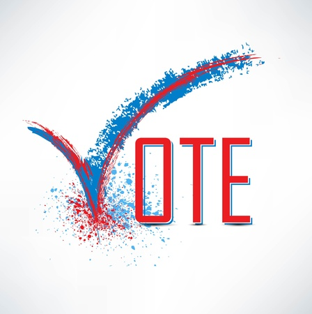 Vote text with check mark and check box Vector