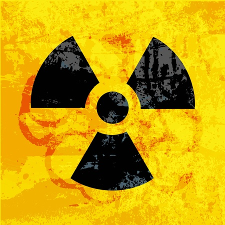 uranium: radioactivity symbol on  grungy background