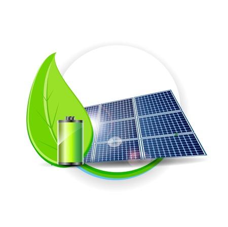 pila: El panel solar Concepto de Electricidad del Medio Ambiente Vectores