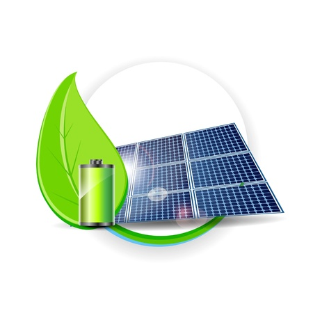 electric cell: Solar panel Electricity Environmental Concept Illustration