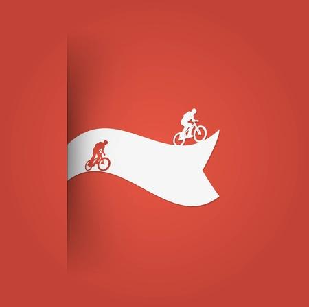 cyclist label. Illustration