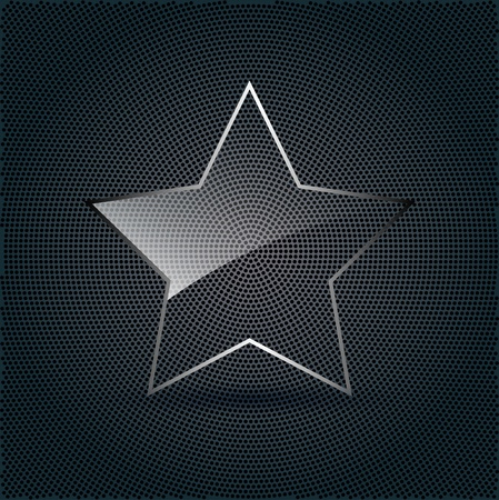 Star Glass on metal background Vector