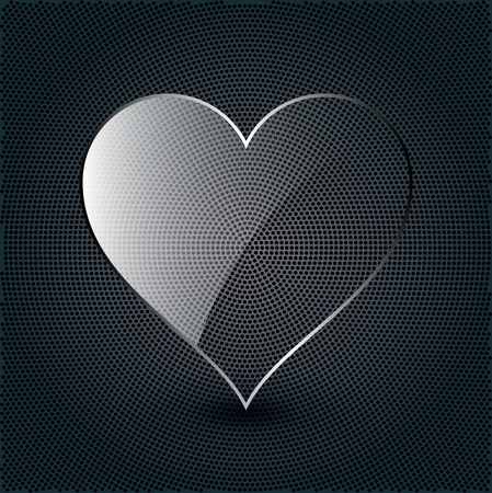 glass reflection: glass heart on a metal background
