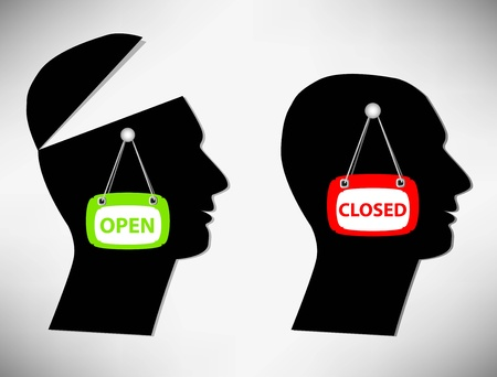 open minded: Conceptual Illustration of a man. A person with an open head covered their heads Illustration