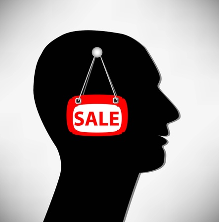 open minded: Conceptual Illustration of a man. Brains for sale. Illustration