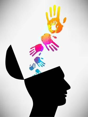 Ilustración conceptual de un hombre de mente abierta. El estado mental. El hombre de los saludos. Saliendo de las manos de la cabeza. Ilustración de vector