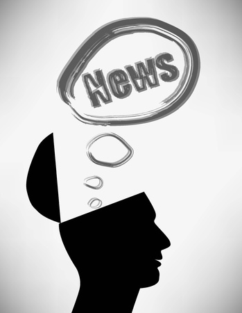 open minded: Conceptual Illustration of a open minded man. Man creator of the news