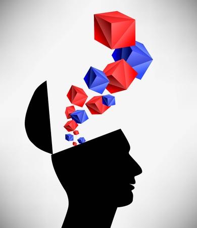 Ilustración conceptual de un hombre de mente abierta. Saliendo de la idea de la cabeza Ilustración de vector