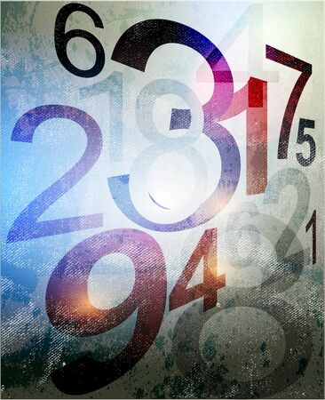 Compositions of colored number. abstract background Illustration