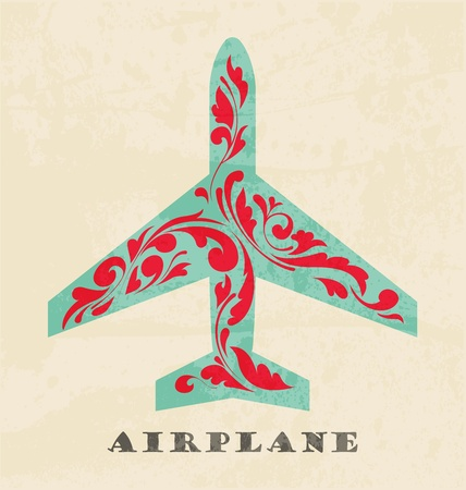 Airplane symbol. Retro poster Stock Vector - 12715551
