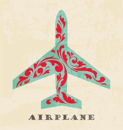 Airplane symbol. Retro poster Vector