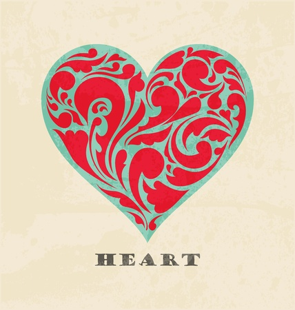 scroll shape: abstract floral heart. love concept. Retro poster Illustration