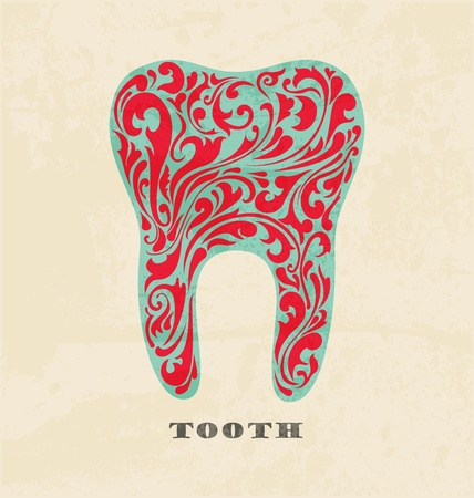 dental caries: abstract floral teeth. Retro poster Illustration