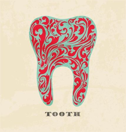 dientes con caries: abstractos dientes florales. Cartel retro