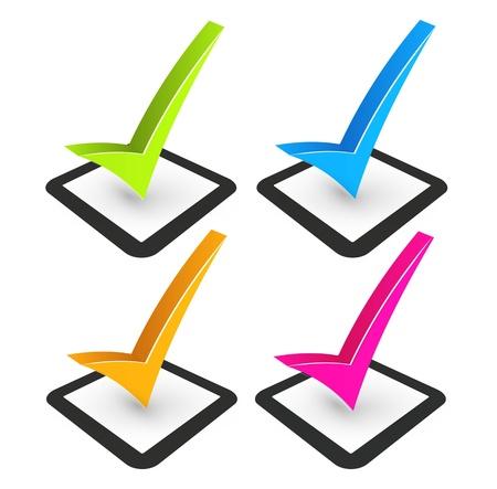 tick: illustration de coche et la case � cocher