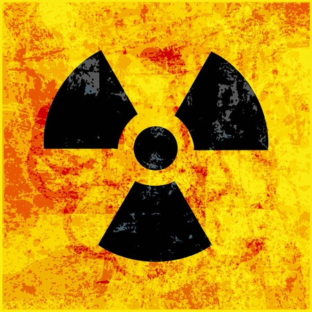 uranium: radioactivity symbol on grungy background Illustration