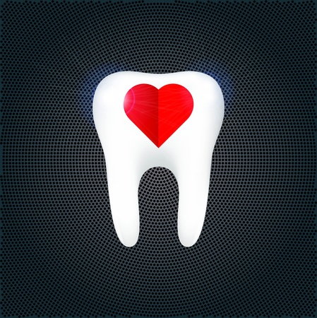 carious: The tooth on the metal background Illustration Illustration