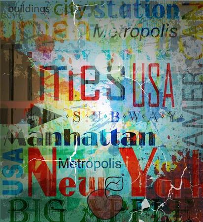 ニューヨーク。背景上のグランジ コラージュを単語します。