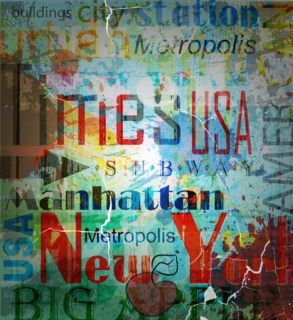 New York. Word Grunge collage on background. Vector