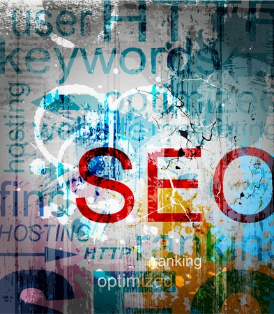 search engine optimized: SEO.  Word Grunge collage on background Illustration