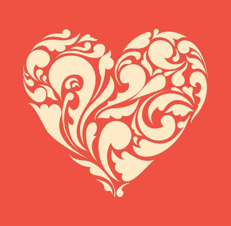 heart sketch: abstract floral heart  love concept  Retro poster Illustration
