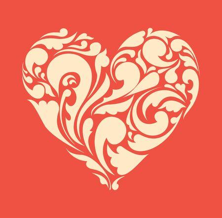 abstract floral heart  love concept  Retro poster Vector