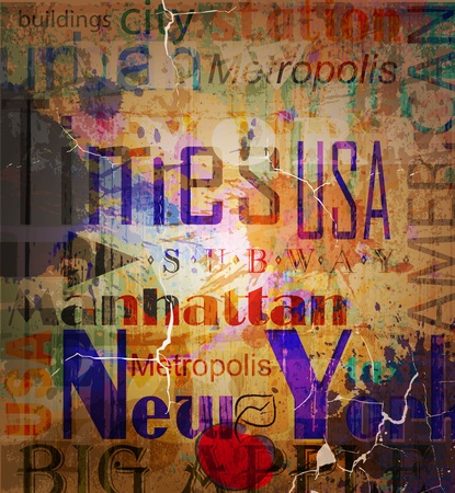 times square: New York  Word Grunge collage on background