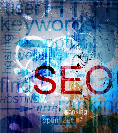 search engine optimized: SEO  Word Grunge collage on background Illustration