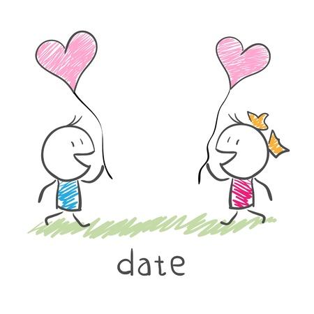 Meeting of two lovers Illusztráció